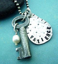 Patience is KEY necklace, steampunk key & handstamped sterling silver pair together with a touch of vintage and inspiration, $59.00