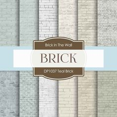Teal Brick Digital Paper DP1037 - Digital Paper Shop - 1