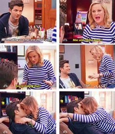 Ben and Leslie - Parks and Rec (I want to try mac and cheese pizza) Parks And Recs, Parks Department, Tv Land, Parks And Recreation, Hilarious, Funny, Best Shows Ever, Best Tv, A Team
