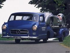1954 Mercedes-Benz Renntransporter with Juan Manuel Fangio's Mercedes-Benz W 196 R #18 aboard