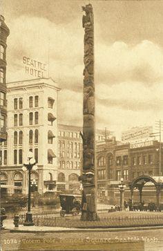 Totem pole in Pioneer Square, circa 1920