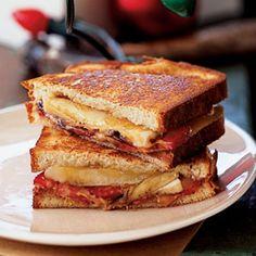 Grilled Peanut Butter and Banana Split Sandwich | MyRecipes.com #myplate #grain #protein #fruit