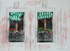 """green awnings windows venice 11"""" x 15"""" micheal zarowsky / watercolour on arches paper / available $350.00"""
