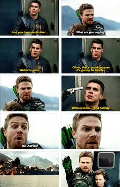 """#Arrow #Season5Finale #5x23 - """"You won. Your son has his father back, and he learned exactly who his father was, just like you learned who your father was, right here... on these very same waters. William's younger than you were, so he's gonna be fine, you know..."""""""