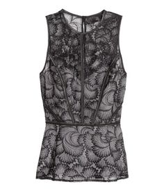 Sleeveless peplum top in black lace with satin trim. Opening at back of neck with button, concealed side zip, fitted waist with box pleats, and contrasting visible lining. | Party in H&M