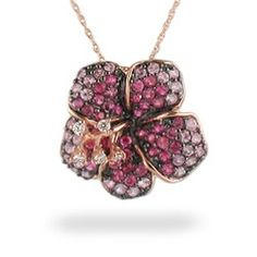 Rose Gold Le Vian Aloha Collection Hibiscus Pendant with Pink Sapphires and Diamonds (Chain Included) - Le Vian Jewelry - Designer Collections -