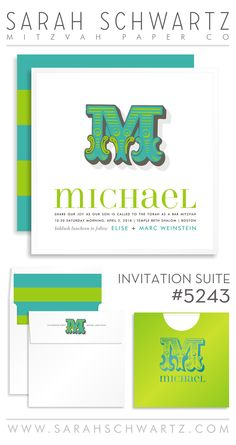 Initial lime and aqua Bar Mitzvah invitaiton suite with stripes