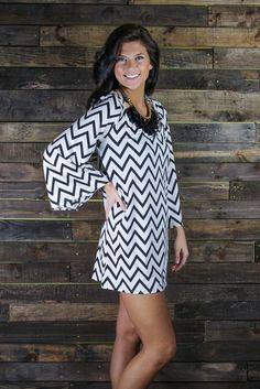 chevron striped dress with an awesome chunky necklace