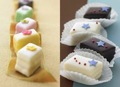 Next Big Thing in baked treats: petit fours. Small layer cakes, covered in a creamy skin of fondant.