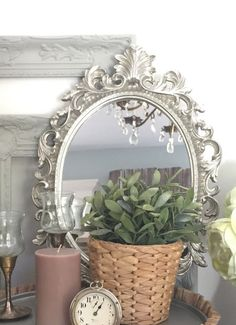 Beautiful Silver Mirror Ornate Oval Nursery Wall Hanging Mirror Custom Order Color Option