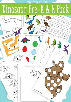 Dinosaur Printables for Preschool - Easy Peasy and Fun. DIY packet for dino books Dinosaur Theme Preschool, Dinosaur Printables, Preschool Themes, Preschool Printables, Preschool Crafts, Kindergarten Worksheets, Free Preschool, Dinosaur Activities For Preschool, Dinosaur Worksheets