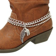 Fashion Jewelry ~ Chain Boot Charm with Cross and Wings Hanging Charm Accents (Boot Charms HBA1037 S) | Your #1 Source for Jewelry and Acces...