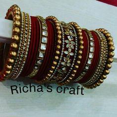 Beautiful handcrafted silk thread kundan bangle..