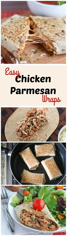 These Easy Chicken Parmesan Wraps are a super-fast, 15-minute meal! Make them ahead - they're portable and freezable, too! All the cheesy, saucy, comforting flavors of your favorite chicken parmesan casserole … yet so quick and simple! AD | www.TwoHealthyKit... http://www.twohealthykitchens.com/2016/01/28/easy-chicken-parmesan-wraps/