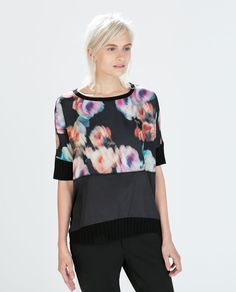 ZARA - NEW THIS WEEK - COMBINED FABRIC T-SHIRT