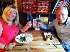 Tracey & Andy love Azul Mediterraneo @cafe_mariana  #Azul #blue #bluewine #vino #spain #spain #natural #chardonnayallday #chardonnay #chardonnayday #azulmediterraneo #winelover #winetime #winetasting #wine