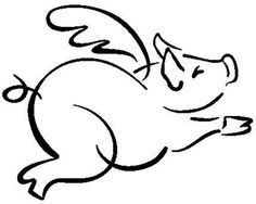 Flying pig rubber stamp WM 12x15 by dragonflybuzz on Etsy, $7.75