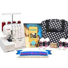 Janome 7933 Horizon Serger with Exclusive Bonus Bundle, 319.00 from Amazon.  See lots more choices of sergers & overlocks in brands of Singer, Juki, Brother, and Janome.