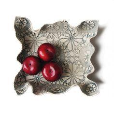 Modern Handmade Artisan Pottery Fruit Bowl Centrepiece Gathered Cream Stoneware Ceramic Steel Blue Vintage Crochet Design Summer Decor