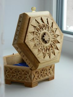 """Starry Sky"" chip carved box by Tatiana Baldina"
