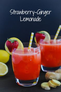 Strawberry-Ginger Lemonade - A unique and refreshing on a summer classic! :: Strawberry Lemonade Strawberry-Ginger Lemonade - A unique and refreshing twist on classic lemonade! Refreshing Drinks, Summer Drinks, Fun Drinks, Healthy Drinks, Beverages, Cold Drinks, Smothie, Ginger Lemonade, Strawberry Lemonade