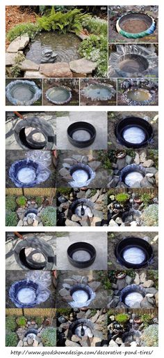 Recycle and upcycle your old tires. Perfect idea for you backyard. Diy Garden Fountains, Garden Pond, Water Garden, Pond Landscaping, Ponds Backyard, Ideas Estanque, Tire Pond, Zen Garden Design, Pond Waterfall