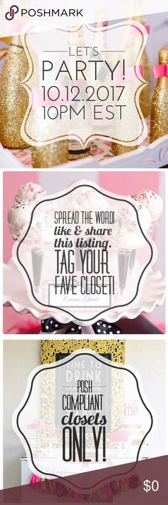 I'M HOSTING A POSH PARTY! Super excited to announce that I'll be co-hosting my second Posh Party!  Date: 10/12/2017 Time: 10pm EST Theme: Total Trendsetter Party  I'll be on the lookout for Posh compliant closets to choose Host Picks from. New to Poshmark? Please drop your closet name below. I'd love to support new closets!  Please help spread the word and tag your favorite closets below! Other