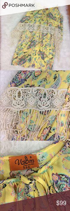 Voom Joy Han paisley dress with crotchet fringe Yellow dress with fringe and crotchet trim. Sizes good condition Voom by Joy Han Dresses Mini