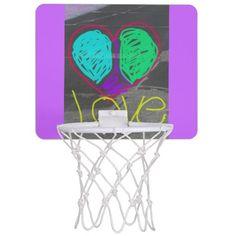 peace heart love mini basket ball hoop mini basketball hoop available at zazzle.com / kosmic_kandies