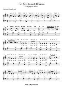 Her Sey Bitmedi Bitemez Kolay Piyano Notasi Piyano Notalara Dokulmus Muzik Muzik Notalari