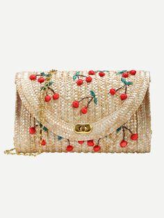 SheIn Famous Designer Brand Bags Women Fashion New Arrival Summer Beach Wear Beige Cherry Applique Straw Chain Bag Diy Clutch, Clutch Bag, Toddler Bag, Novelty Bags, Embroidery Bags, Diy Handbag, Summer Bags, Kids Bags, Handmade Bags