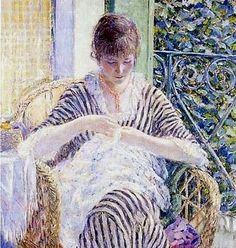 Frederick Carl Frieseke (April 7, 1874 – August 24, 1939) was an American Impressionist painter who spent most of his life as an expatriate in France. An influential member of the Giverny art colony, his paintings often concentrated on various effects of dappled sunlight. He is especially known for painting female subjects, both indoors and out.