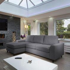 Large Modern Luxury Sofa/Settee 2.5x1.5m L Shape Corner Group L/h grey - Quatropi