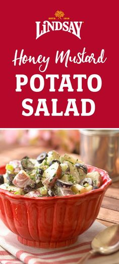 The best Honey Mustard Potato Salad recipe! Perfect for picnics and BBQs. We use mayonnaise, honey, yellow mustard and black olives in this delicious side dish. Best Side Dishes, Healthy Side Dishes, Easy Salad Recipes, Healthy Recipes, Healthy Lunches, Easy Salads, Potato Dishes, Potato Recipes, Veggie Delight
