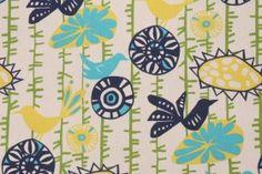 Premier Prints Menagerie Cotton Drapery Fabric in Sunshine/Natural $7.48 per yard   BIRDS!!!!  :)  @Jenny Freehardt