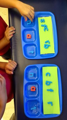 Simple DIY Building Words Center- children could identify beginning, middle or ending sounds using a different coloured magnet.