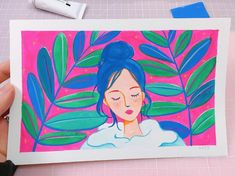 The vibrant gouache paintings are bursting with undeniably good energy! Character Illustration, Illustration Art, Illustrations, Bright Paintings, Tropical Vibes, Gouache Painting, Character Creation, Heart Art, Portrait