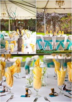 Yellow and Aqua Blue Tiffany Blue wedding reception. Branches for centerpieces