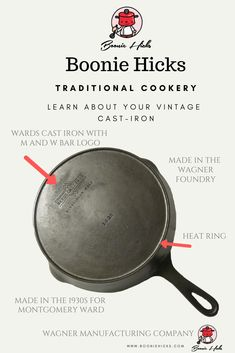Wagner cast iron or Wagner Ware are some of the finest vintage cast iron cookware. Learn the history, dating, logos of Wanger Manufacturing Company. Cast Iron Skillet, Cast Iron Cooking, Vintage Cast Iron Cookware, Wagner Cast Iron, Iron M, Bar Logo, Food For Thought, Tea Pots, Frying Pans