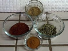 Some of my favorite spices: Chili powder, cumin, oregano and paprika.  Mmmm....