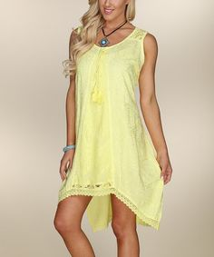 Yellow Vine Lace-Accent Dress by Ananda's Collection #zulily #zulilyfinds