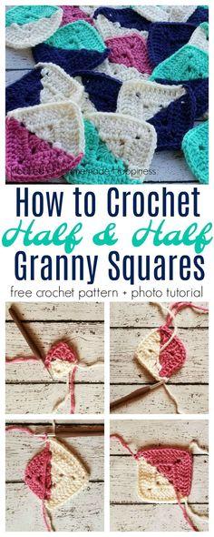 Half and Half Granny Square Crochet Pattern