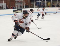 Photo Joseph Lee, The Daily Illini  Illinois' John Olen (16) looks for an open team mate during the game against Robert Morris at the Illini Ice Arena on Saturday, Feb. 9th, 2013