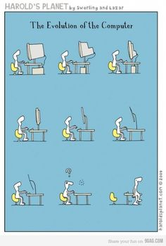 Evolution of computer from table top to table surface 😉 Computer Jokes, The Computer, Funny Photos, Funny Images, You Funny, Hilarious, Funny Stuff, James Holland, Tech Humor