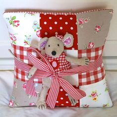 red name cushion and toy mouse gift set by tuppenny house designs   notonthehighstreet.com