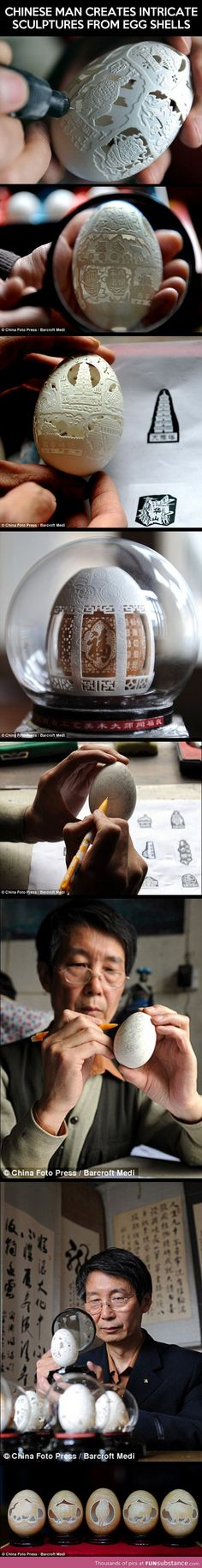 Intricate sculptures from egg shells