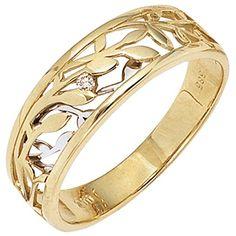 Elegante SIGO Damen Ring Gelbgold Weißgold zweifarbig 1 Brilliant Diamond J . Yellow Gold Rings, White Gold, Rose Gold, Couple Rings, Brilliant Diamond, Bangles, Bracelets, Beautiful Rings, Rings