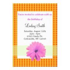 Orange and Pink Floral Birthday Invitation #orange #pink #birthdays
