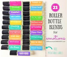 LOVE this!! amazing find! there are tons of great roller bottle blends {and FREE super cute labels} for all kinds of emotions-- calm, focus, grounding, balance, gratitude, happy, energy, comfort, motivation, courage, confidence, cheer, creativity, and more!!