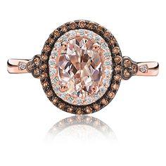 JK Crown: Morganite, Champagne & White Diamond Halo Ring 10K Rose Gold